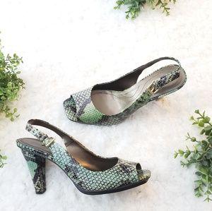 Tahari Jackal Heels Green Snakeskin Open Toe Pumps for sale